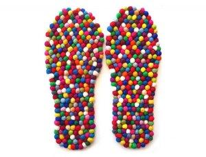 """Bunte Filz-Einlegesohle """"FeelGood Fußbett"""" mit Massage Effekt - WoolFit"""
