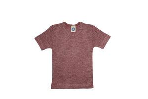 Bio-Kurzarmshirt in Rippstruktur aus Seide/Wolle/Baumwolle - Cosilana