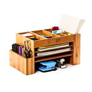 XL - Schreibtischorganizer / Ablagefach mit vielen Fächern - Bambuswald