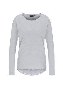 Gestreiftes Damen Langarmshirt weiß/blau   Casual Longsleeve #STRIPES - recolution
