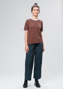 Gestreiftes Damen T-Shirt aus Tencel blau/orange | Tencel Casual Overlap T-Shirt #STRIPES - recolution