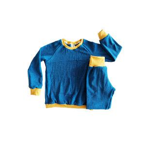 Kinder Frottee Schlafanzug Bio Baumwolle blau senf - betus