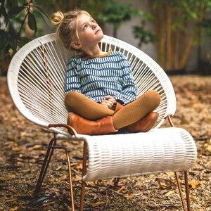 Mädchenkleid langarm Jacquard Raster mit Gürtel Bio-Baumwolle - Baba Babywear
