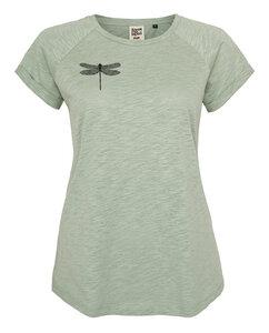 Frauen Raglan Slub Shirt mit kleiner Libelle aus Biobaumwolle Hergestellt in Portugal - ilovemixtapes