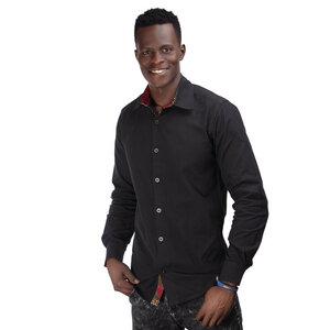 Popeline Hemd im Westafrikanischen Kitenge Design, schwarz - Africulture