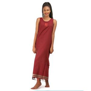 "Kikoy Sommerkleid lang, Strandkleid ""Mwezi"" mit Afrikanischem Stickmuster, made in Kenia - Africulture"