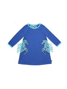 Enfant Terrible Mädchen Langarm-Sweatkleid mit Pferd reine Bio-Baumwolle - Enfant Terrible