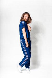 """Jumpsuit """"Janna"""" aus fairem nachhaltigem Tencel in blau / weiß - FREIRAUMREH"""