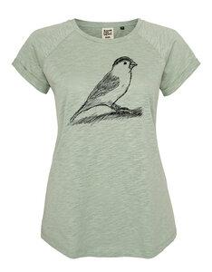 Frauen Raglan Slub Shirt mit Spatz aus Biobaumwolle Hergestellt in Portugal - ilovemixtapes