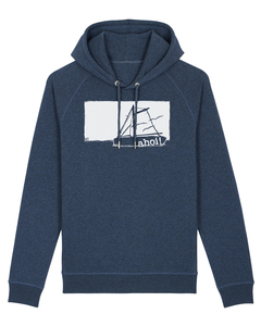 Unisex Kapuzensweater Ahoi 2.0 aus Biobaumwolle mit Seitentaschen dunkelblau meliert  - ilovemixtapes