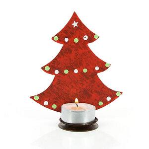 Teelichthalter Tannenbaum, Weihnachtsdeko rot - Mitienda Shop