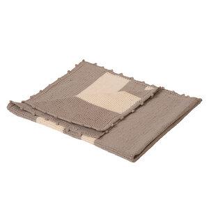 Baby-Strickdecke ELVIRA grau/weiß gestreift aus reiner Baumwolle - bosnanova