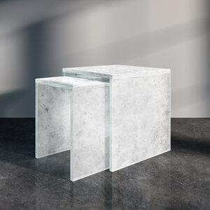 Couchtisch Satztisch Set ALASKA aus recycelten Glasflaschen in U-Form - MAGNA Glaskeramik®