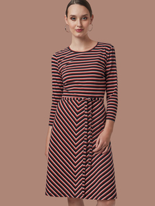 "Frauen Kleid aus Bio-Baumwolle ""Oh Yes!"" Stripes Multi - Mademoiselle YéYé"