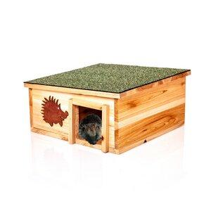 XL Igelhaus aus naütrlichem Holz & integriertem Raubtierschutz  - Skojig