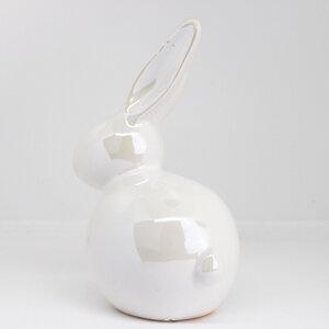 Osterdeko Hase sitzend weiß pearl - Mitienda Shop