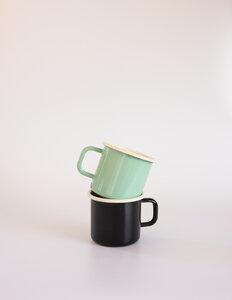 Retro Emaille Tasse Schwarz/Mint - Muender Email