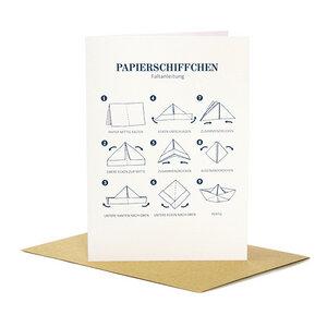 Grußkarte Papierschiffchen - Bow & Hummingbird