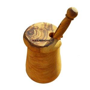 Olivenholz Honigtopf Honigbehälter mit Deckel mit Honiglöffel Design - NATUREHOME