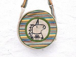 HH Einhorn Umhängetasche rund aus wildem Hanf und Baumwolle - Himal Hemp