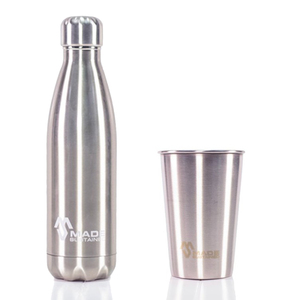 Edelstahl Flasche + Becher in Silber - Made Sustained