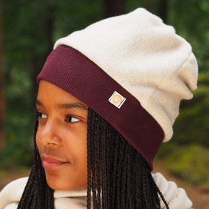 Tolle Fleece Mütze mit Kontrastbündchen  - Biuwaa