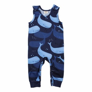 Baby Jumpsuit Strampler *Smiling Whales* GOTS | Walkiddy - Walkiddy