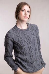 Gestrickter Aran-Pullover mit rundem Ausschnitt - Mila.Vert