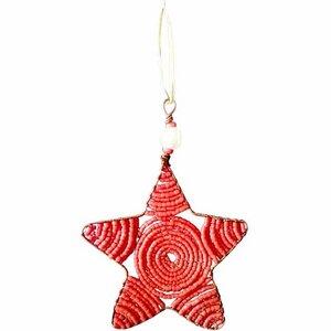 Upcycling Christbaumschmuck  - Weihnachtsstern -  S/L - Rainbow/Weiß/Rot - Weihnachten - Geschenkdeko - Weihnachtsdeko - Global Mamas