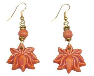Schmuck Ohrringe aus Keramik Lotus, Blume und Fächer - Schönes aus Indochina
