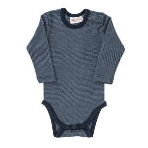 Baby u. Kinder LA Body blau geringelt Wolle/Seide Bio People Wear Organic - People Wear Organic