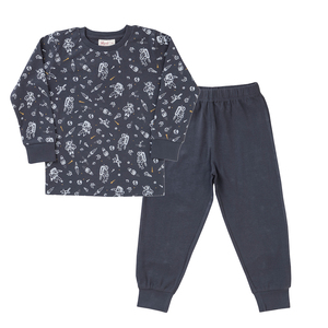 Jungen Schlafanzug grau gemustert Bio People Wear Organic - People Wear Organic