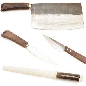 BBQ Set bestehend aus 3 Messern (Vay12cm, Hep16cm, Cung21cm) und Schleifstab aus Keramik  - Authentic Blades