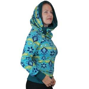 Kapuzenpullover Longshirt KapOn Jersey gemustert blau/bunt kurz - liebewicht