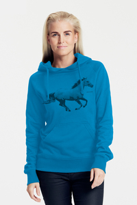Bio-Damen-Kapuzensweater Horsepower - Peaces.bio - Neutral® - handbedruckt