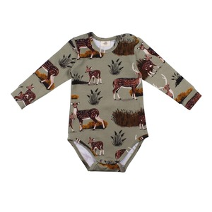 Langarm Baby Body *Deer Family* GOTS Bio | Walkiddy - Walkiddy