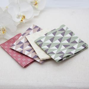 4 handgenähte Damen Stofftaschentücher aus Bio-Baumwolle inkl. Baumwolle Beutel für unterwegs/ MADE IN AUSTRIA - OrganicMom