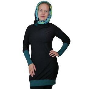 Kapuzenkleid Herbstkleid KapOn Jersey bunt/schwarz oder schwarz/bunt  - liebewicht