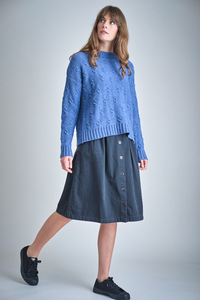 Mina Buttoned Through Denim Skirt  - bibico