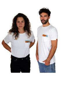 Bio T-shirt - Kitenge African Ethno Pocket - Unisex - Schwarz & Weiß - Maembe - Maembe