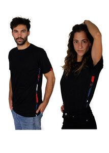 Bio T-shirt - Kitenge African Ethno Stripes - Unisex - Schwarz & Weiß - Maembe - Maembe