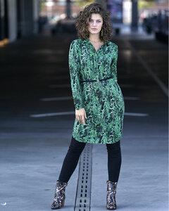 Hemdkleid Grün mit Schlangen-Muster - LaZoy