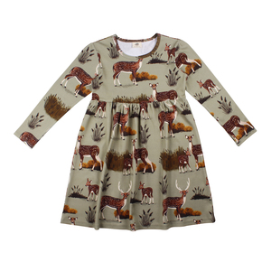 Walkiddy Skater Kleid Rehe deer family grün - Walkiddy