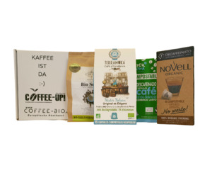 Entdeckerpaket: 4 verschiedene entkoffeinierte Sorten – kompostierbare & aluminiumfreie Bio-Kaffeekapseln, Nespresso® kompatibel  - Coffee-Up!