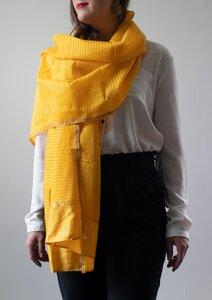 Großes handgewebtes Seidentuch in Gelb Gold - Raani
