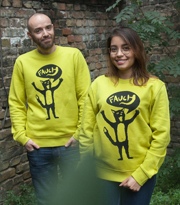 Ferdinand Fauch / Katze - Fair Wear Unisex Sweater - LimeYellow - päfjes