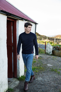 Wollpullover mit Rundhalsausschnitt in navy - Fisherman out of Ireland