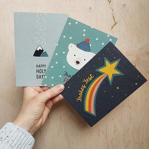 Postkarten 3er-Set Weihnachten aus Recyclingpapier - TELL ME