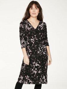 Schwarz-grau bedrucktes Kleid aus Bambus und Bio-Baumwolle - Thought
