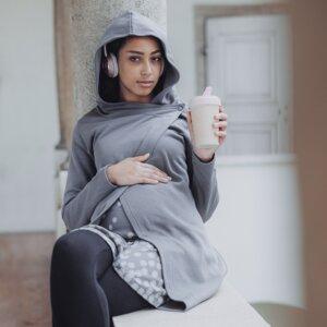 Hoodie lang multifunktional für Schwangerschaft, Stillzeit und danach - stillfashion